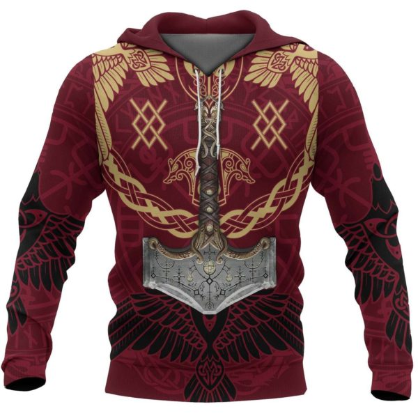Viking mjolnir all over printed hoodie 3