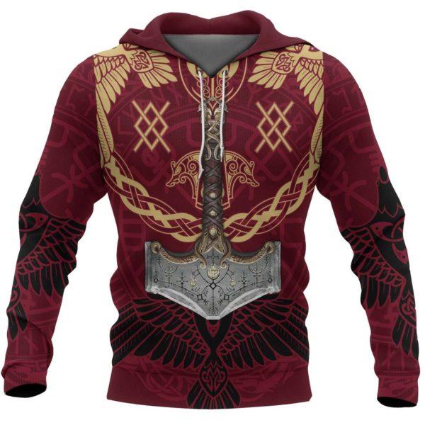 Viking mjolnir all over printed hoodie