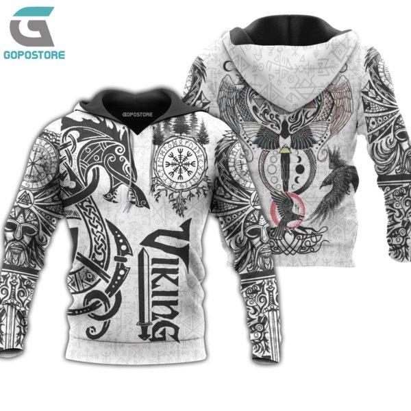 Viking tattoo art 3d all over printed hoodie