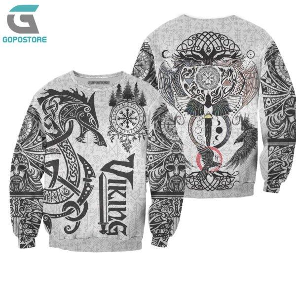 Viking tattoo art 3d all over printed sweatshirt