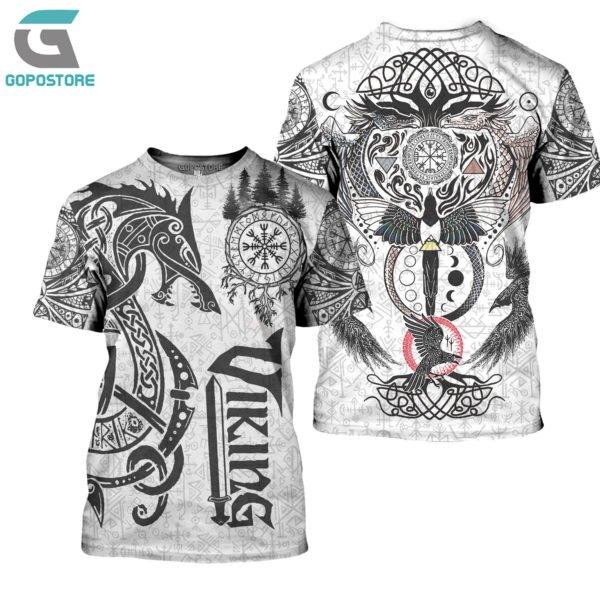 Viking tattoo art 3d all over printed tshirt