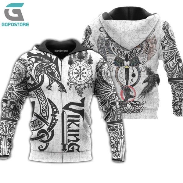 Viking tattoo art 3d all over printed zip hoodie