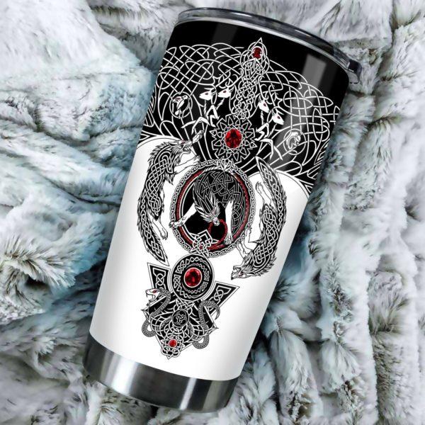 Viking wolf fenrir stainless steel tumbler 3