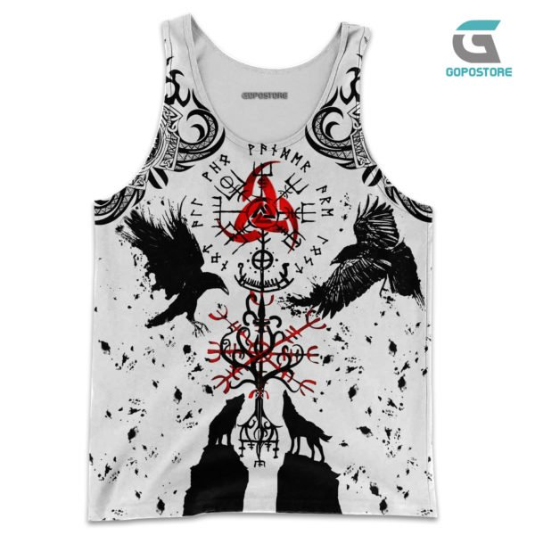 Vikings tattoo 3d all over printed tank top