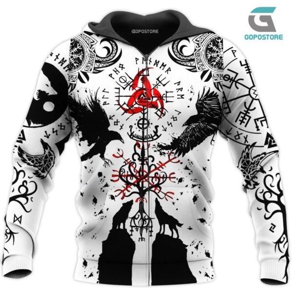 Vikings tattoo 3d all over printed zip hoodie