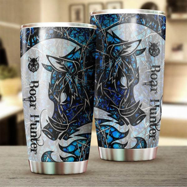 Wild boar hunter tattoo blue camo stainless steel tumbler 2