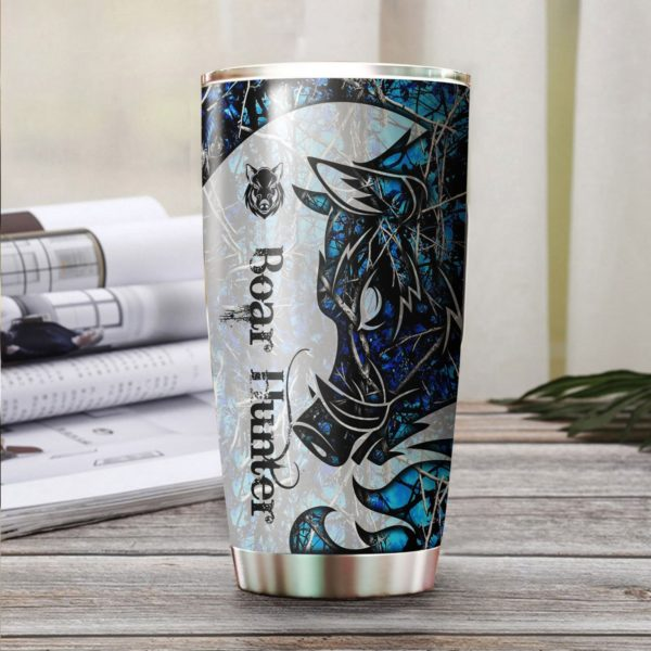Wild boar hunter tattoo blue camo stainless steel tumbler 4