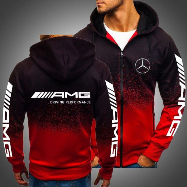 AMG driving performance mercedes-benz all over printed zip hoodie
