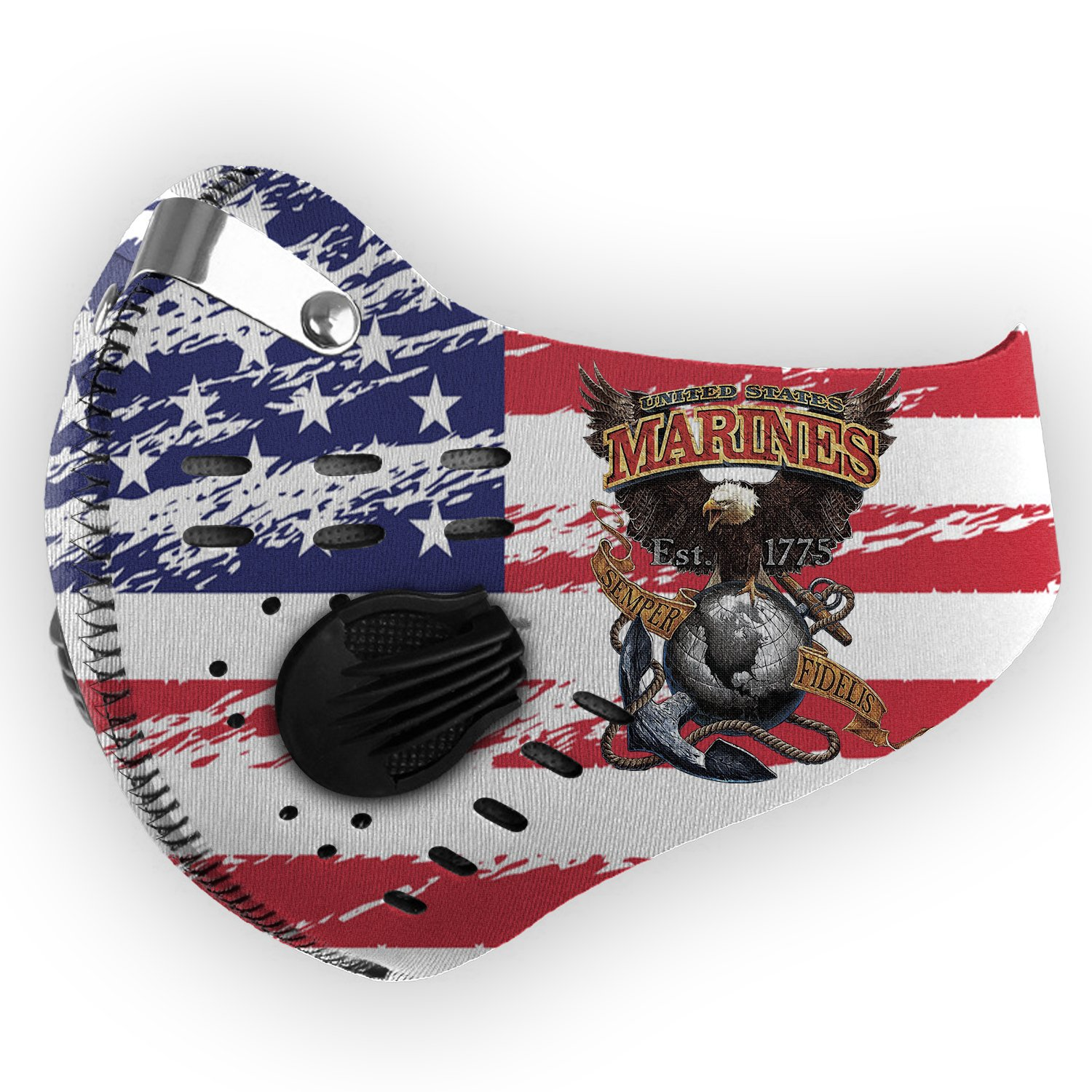 American flag united states marines semper fidelis eagle filter activated carbon face mask 1