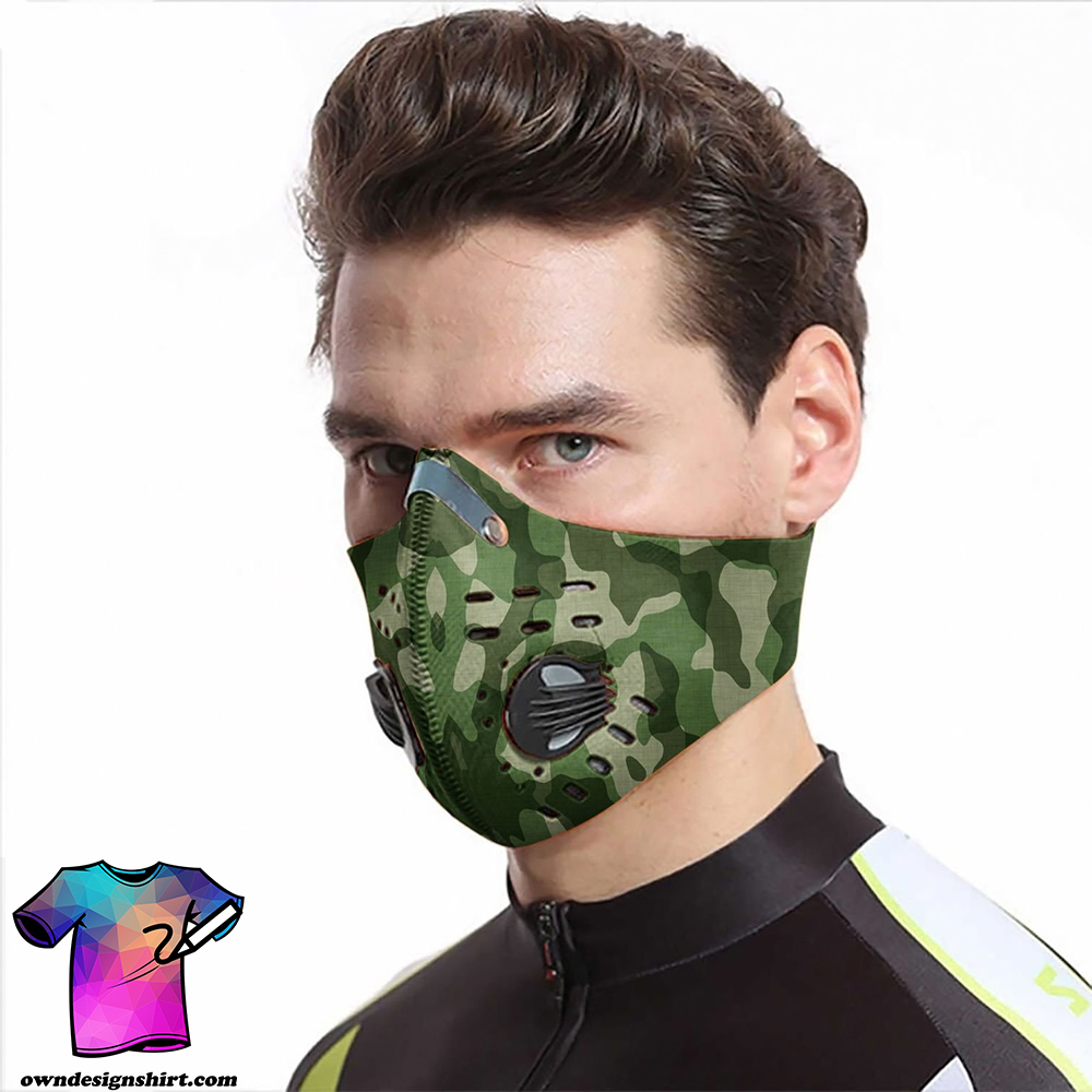 Army camo carbon pm 2,5 face mask