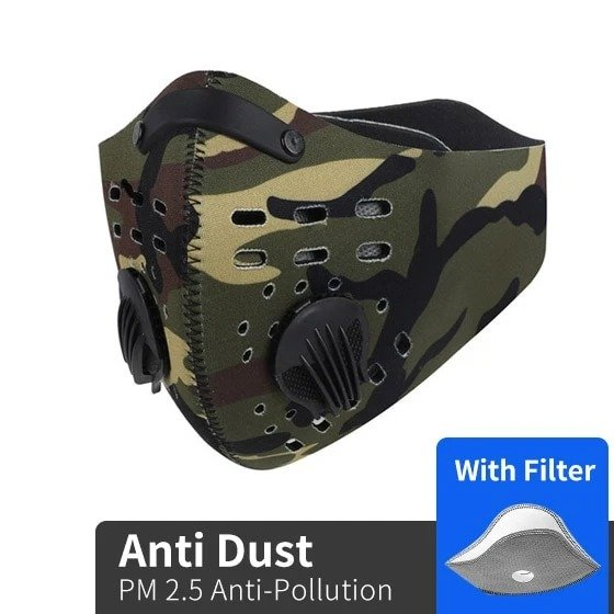 Army logo camo filter activated carbon pm 2,5 face mask 2