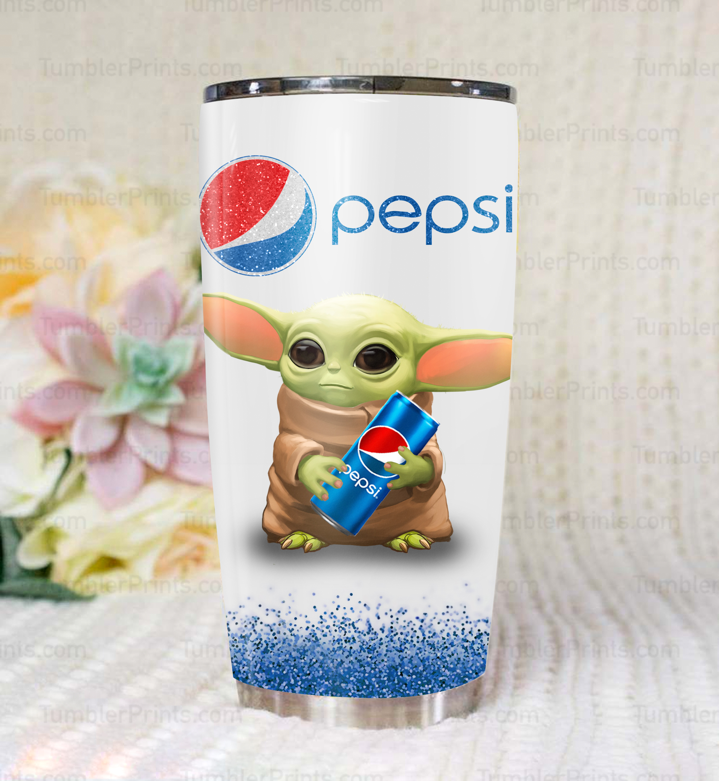 Baby yoda and pepsi full over printed tumbler 1