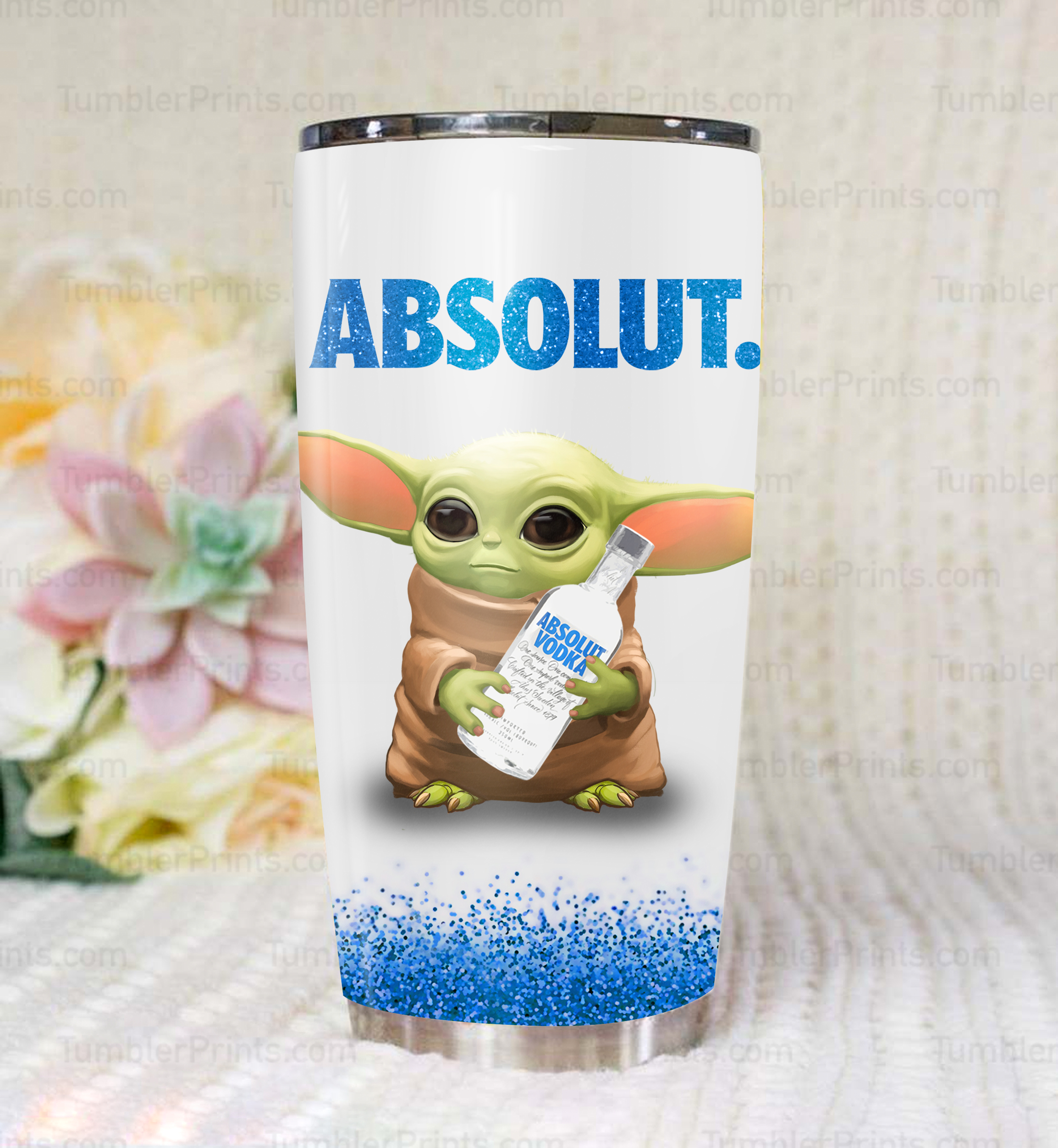 Baby yoda and vodka absolut steel tumbler 1