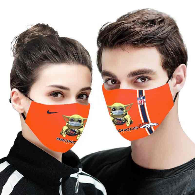 Baby yoda denver broncos full printing face mask 2