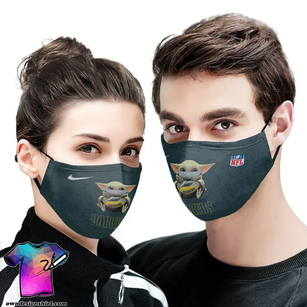 Baby Yoda Green Bay Packers Full Printing Face Mask