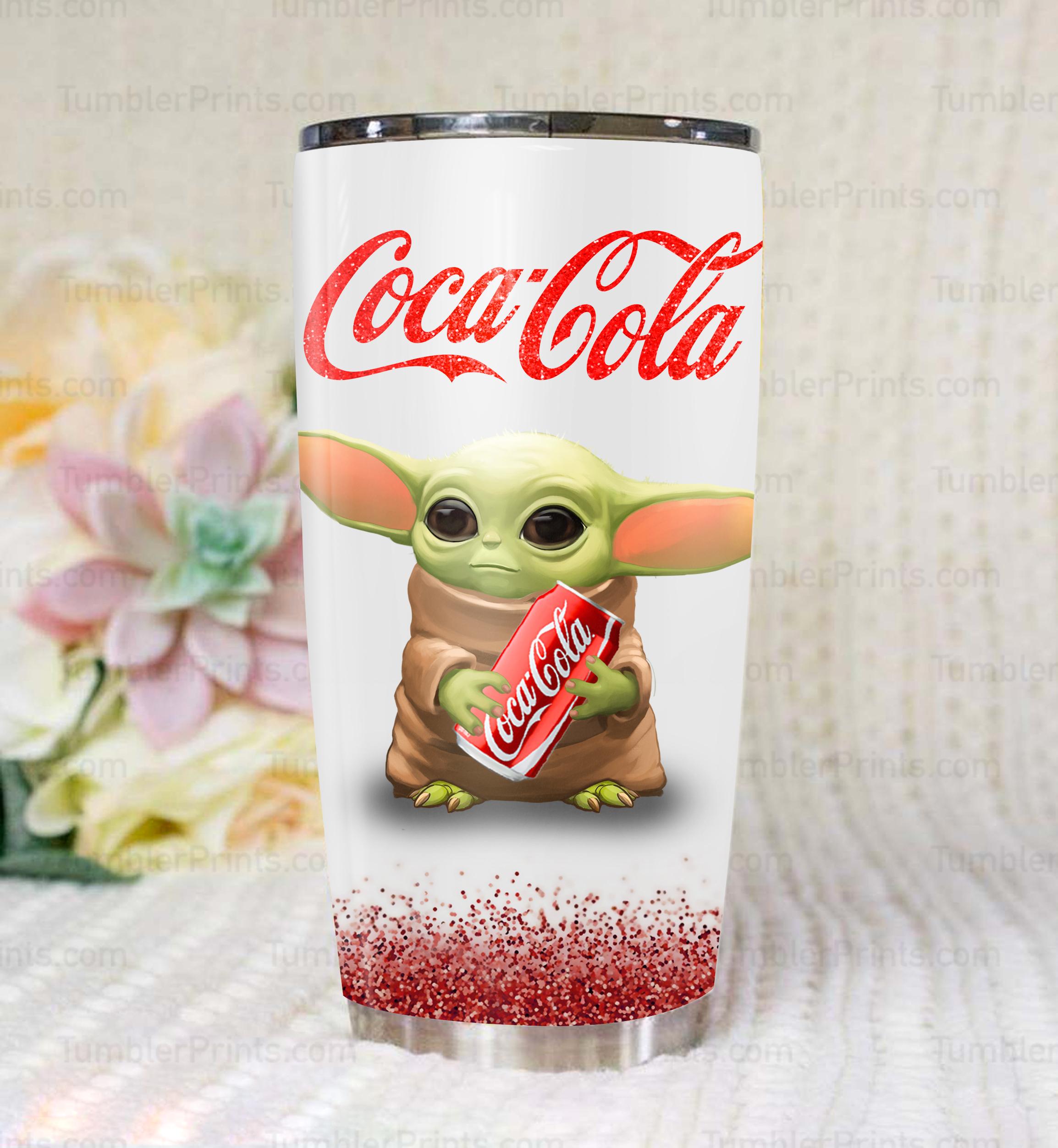 Baby yoda hold coca cola steel tumbler 1