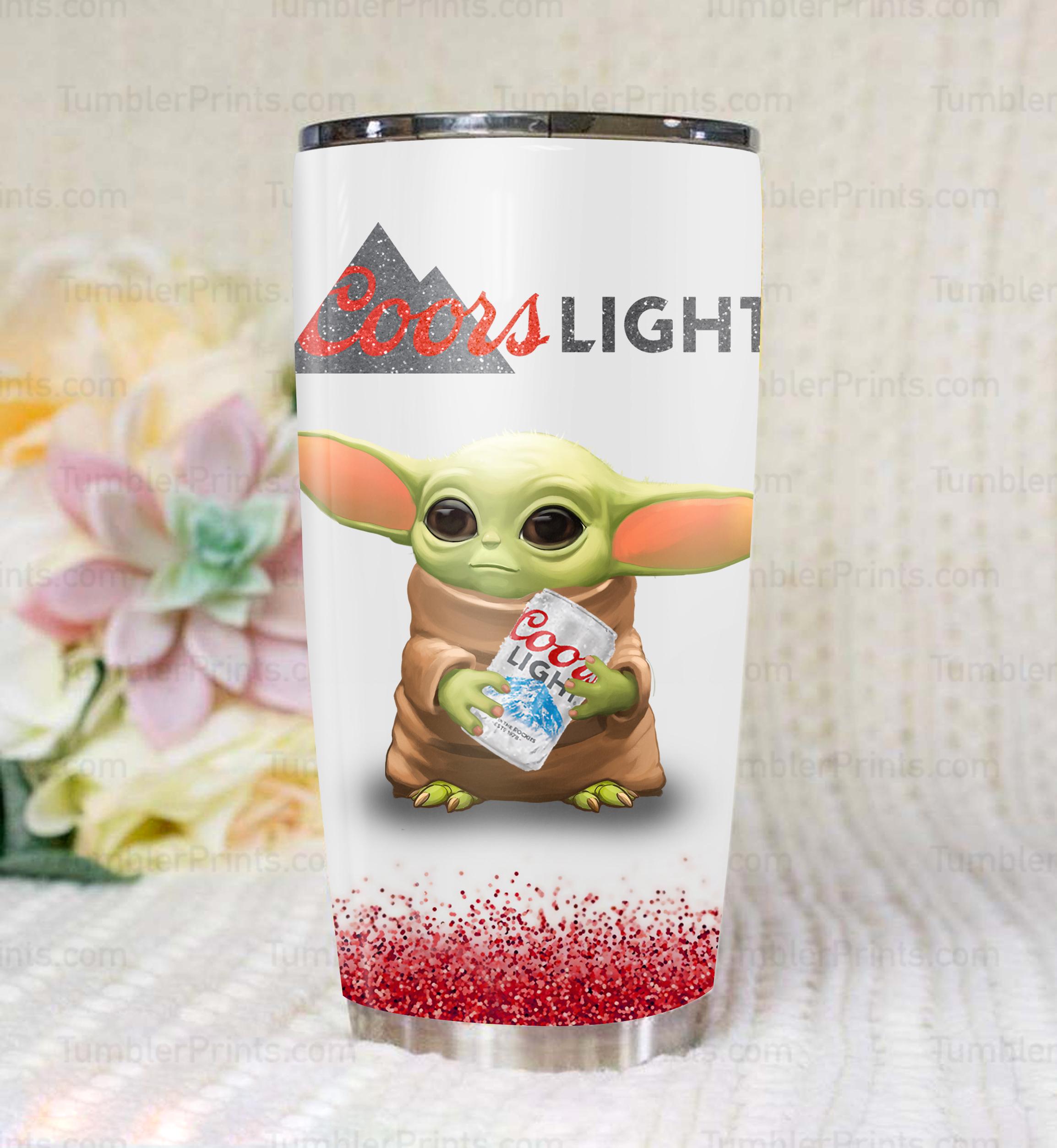 Baby yoda hold coors light steel tumbler 1