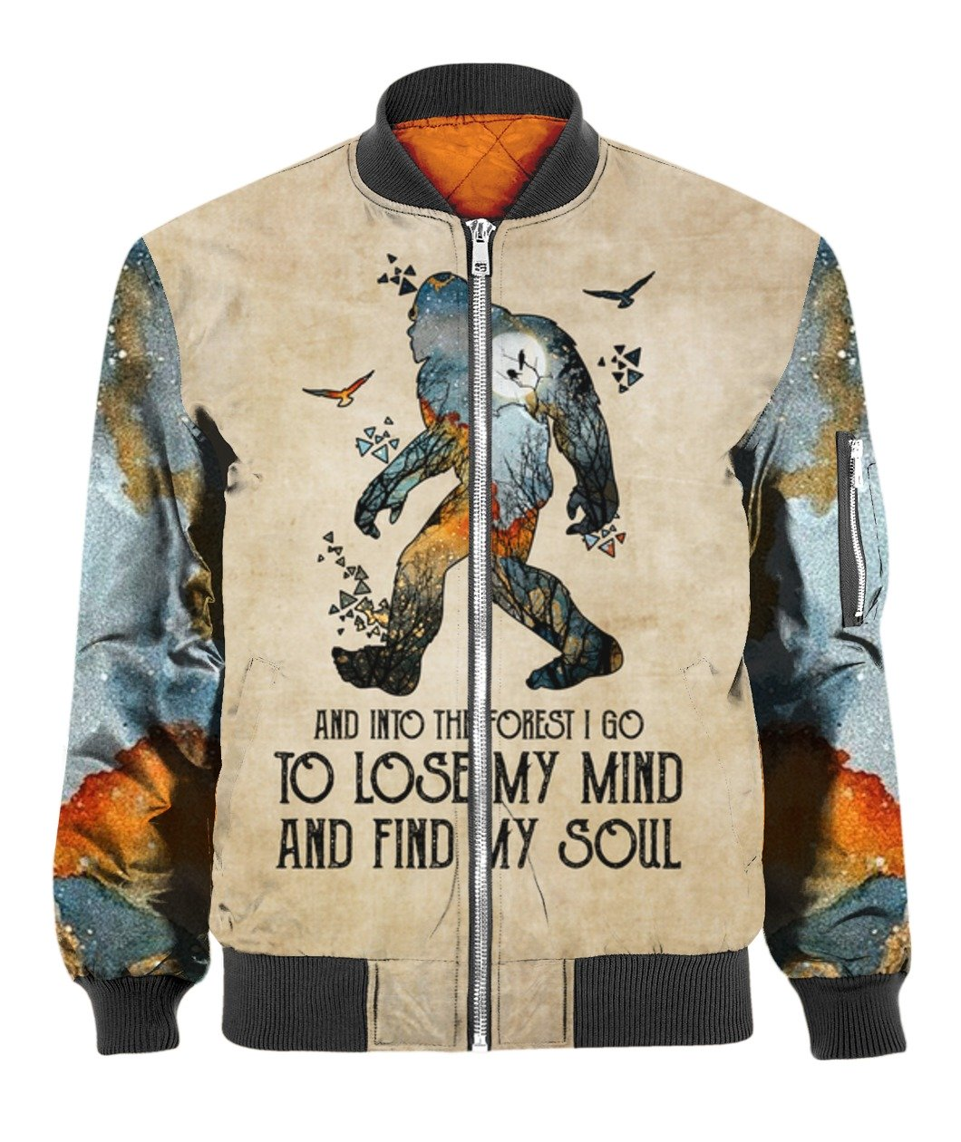 Bigfoot and into the forest i go to lose my mind camping full over print bomber