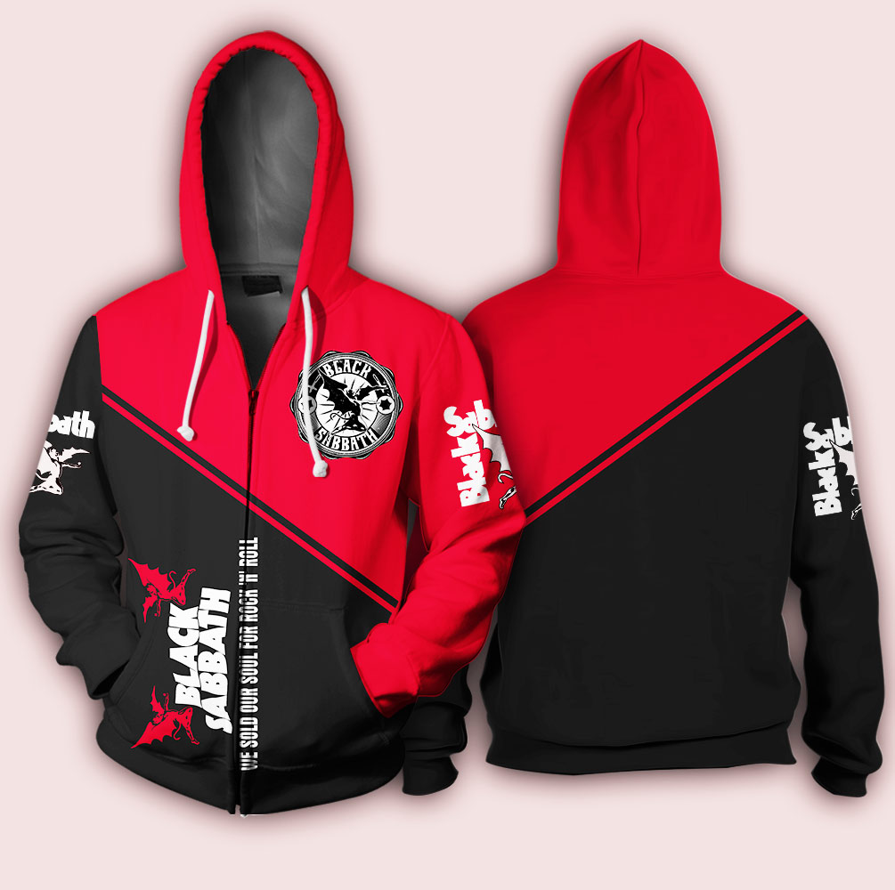 Black sabbath we sold our soul for rock and roll full over printed zip hoodie
