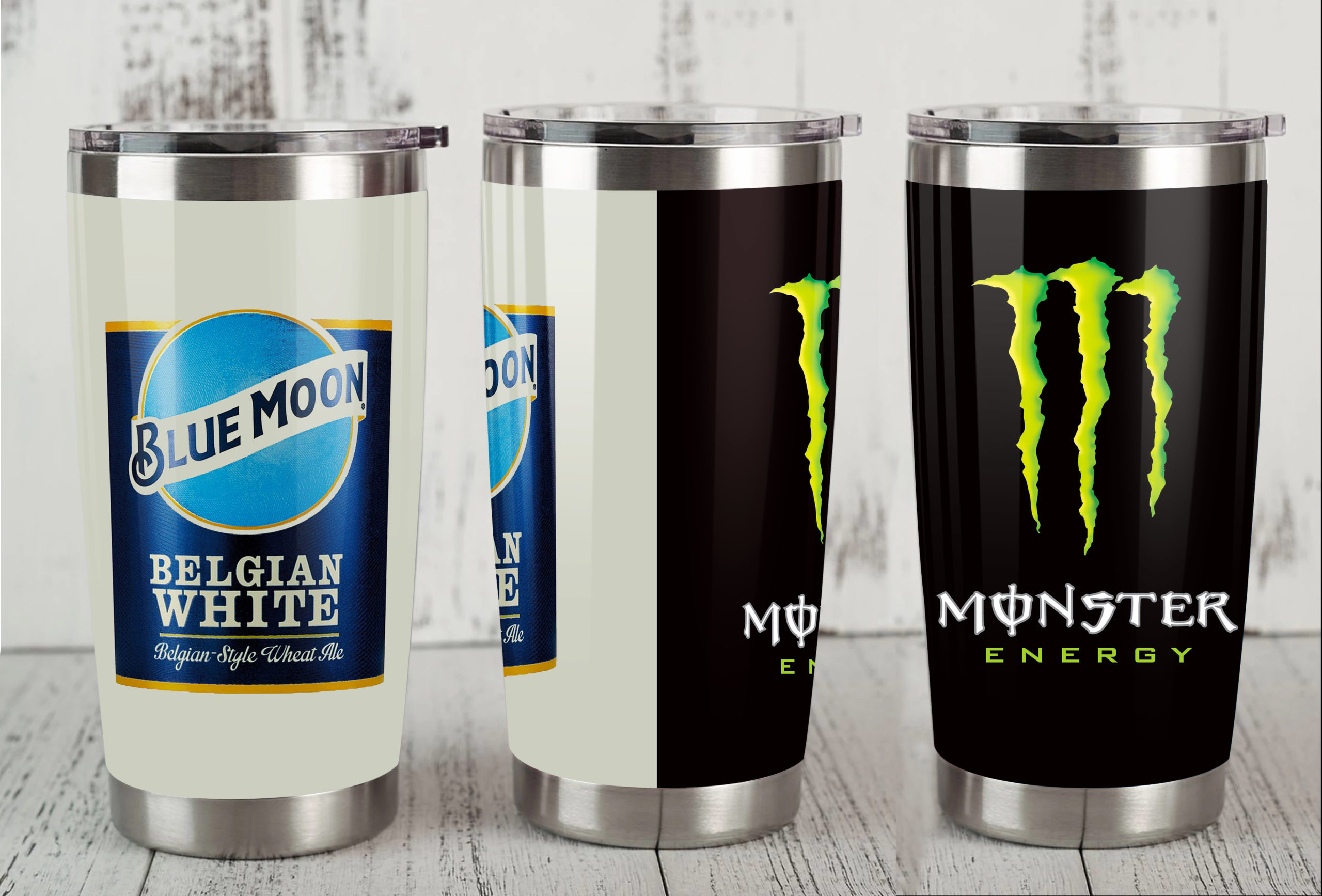 Blue moon monster energy steel tumbler 1