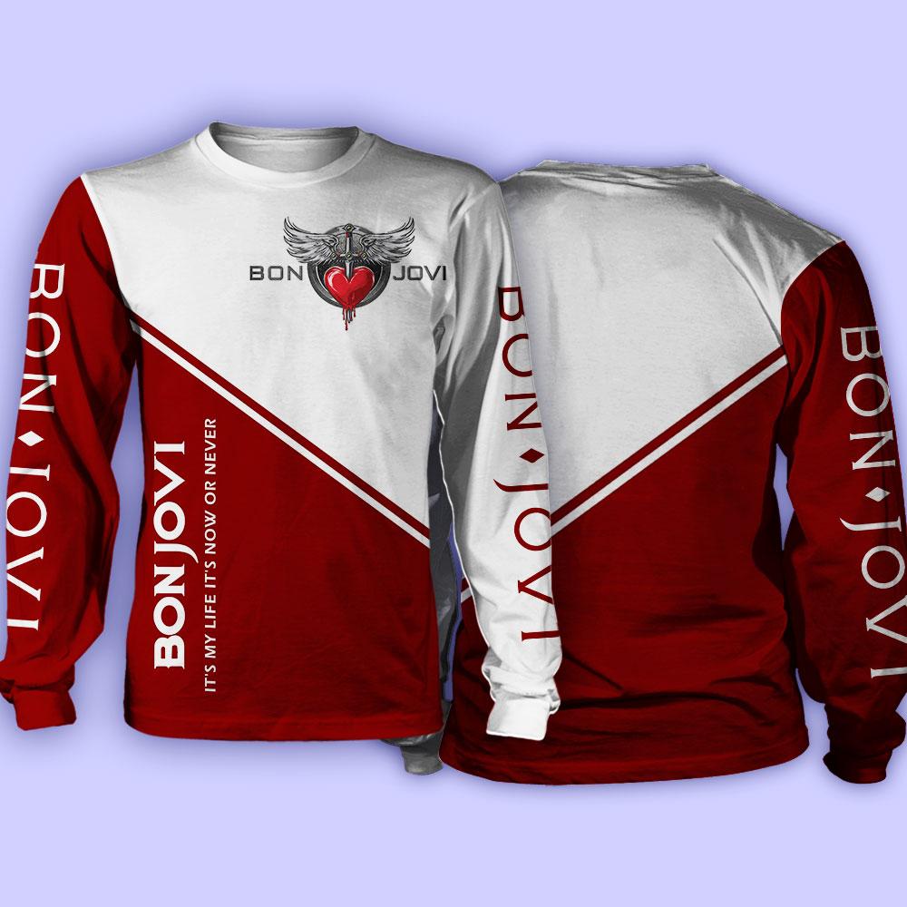 Bon jovi it my life it's now or never full over print sweatshirt