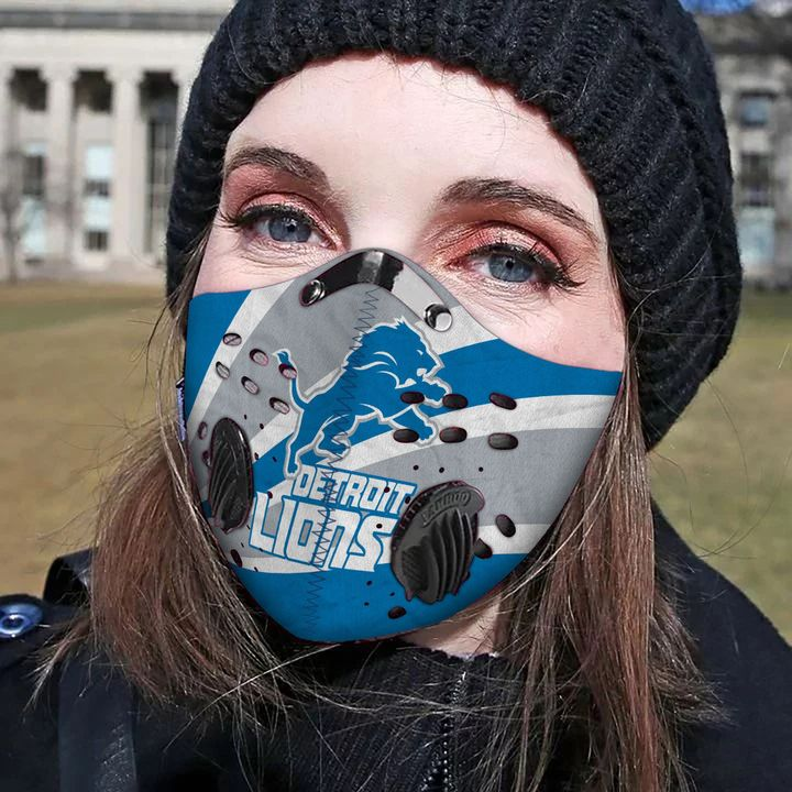 Detroit lions team football filter activated carbon face mask 1