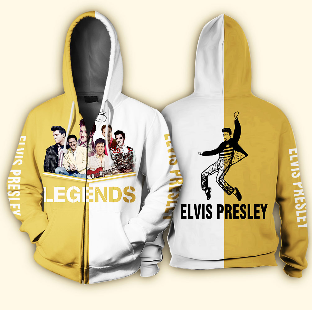 Elvis presley legends full over print zip hoodie