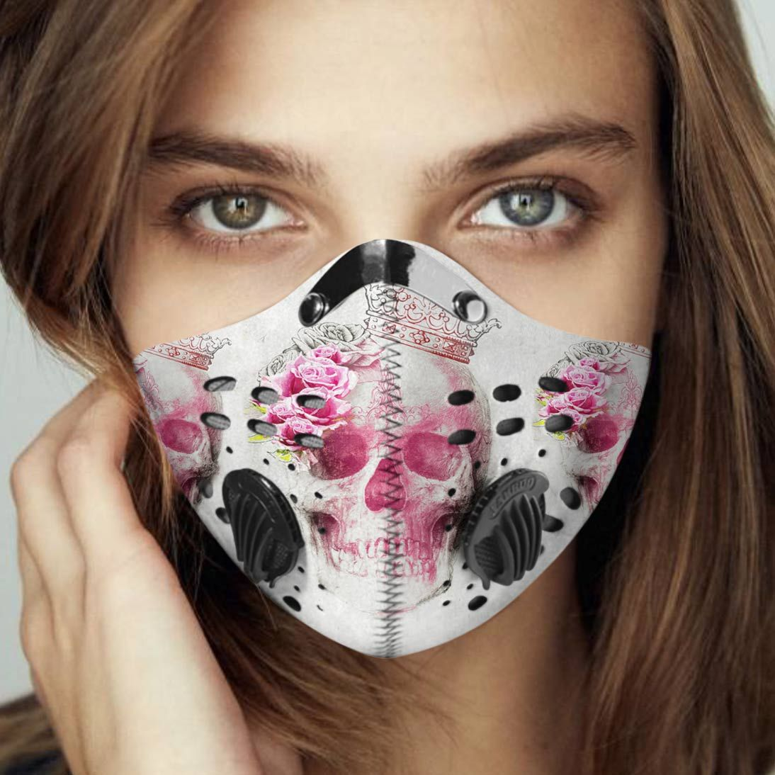 Floral skull queen carbon pm 2,5 face mask 1