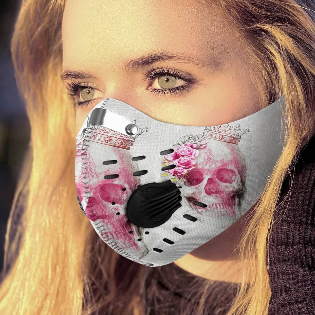 Floral skull queen carbon pm 2,5 face mask 3