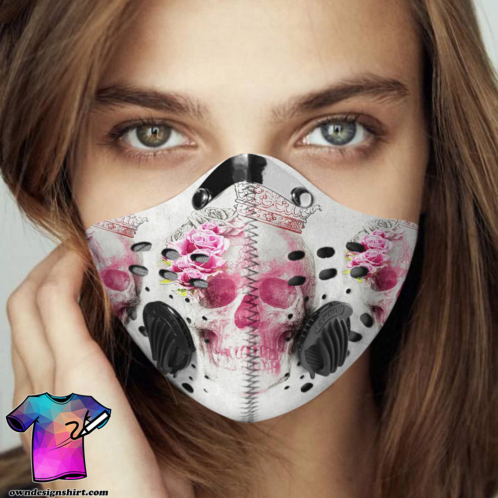 Floral skull queen carbon pm 2,5 face mask