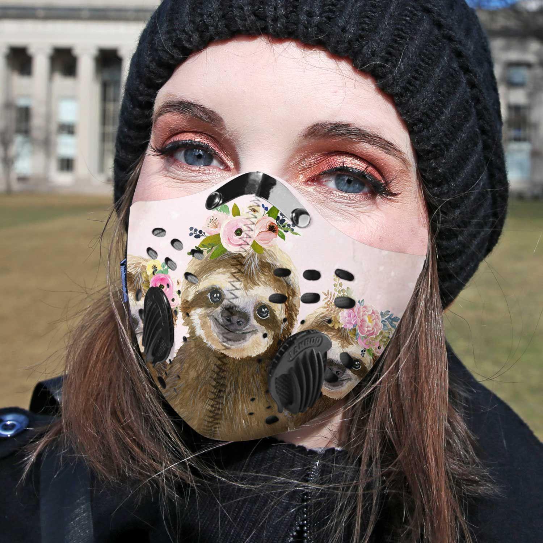 Floral sloth carbon pm 2,5 face mask 1