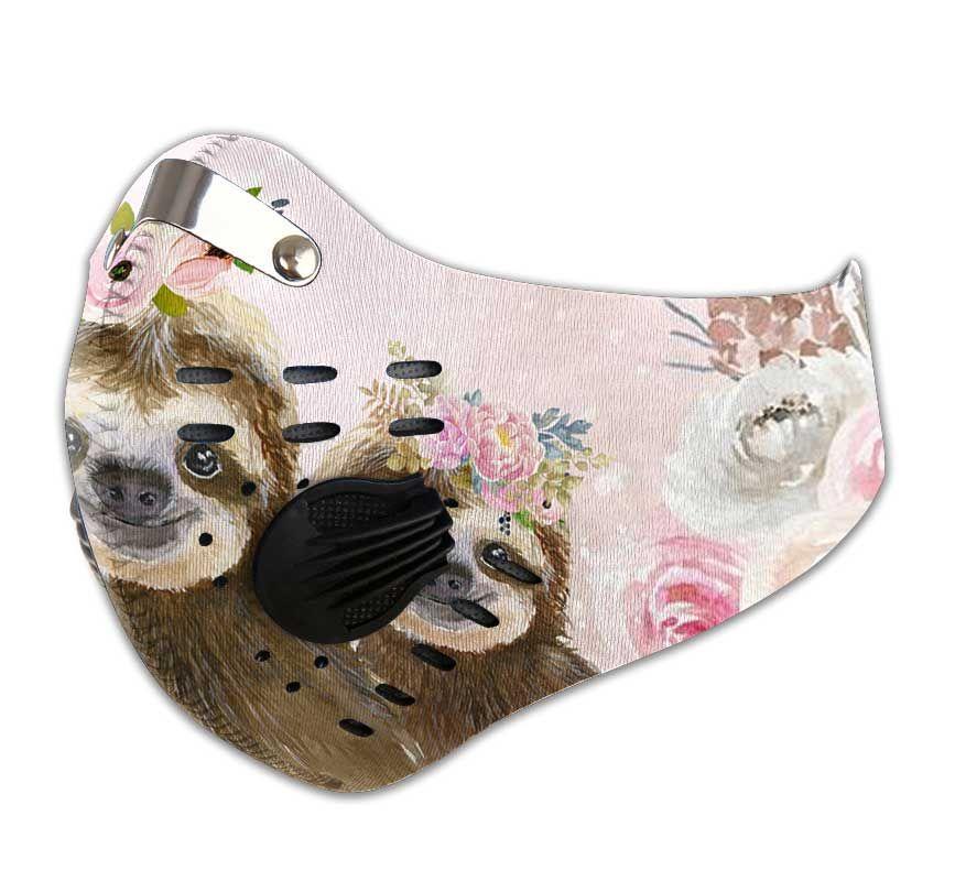 Floral sloth carbon pm 2,5 face mask 4