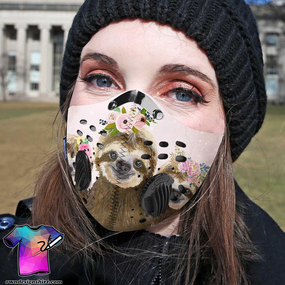 Floral sloth carbon pm 2,5 face mask