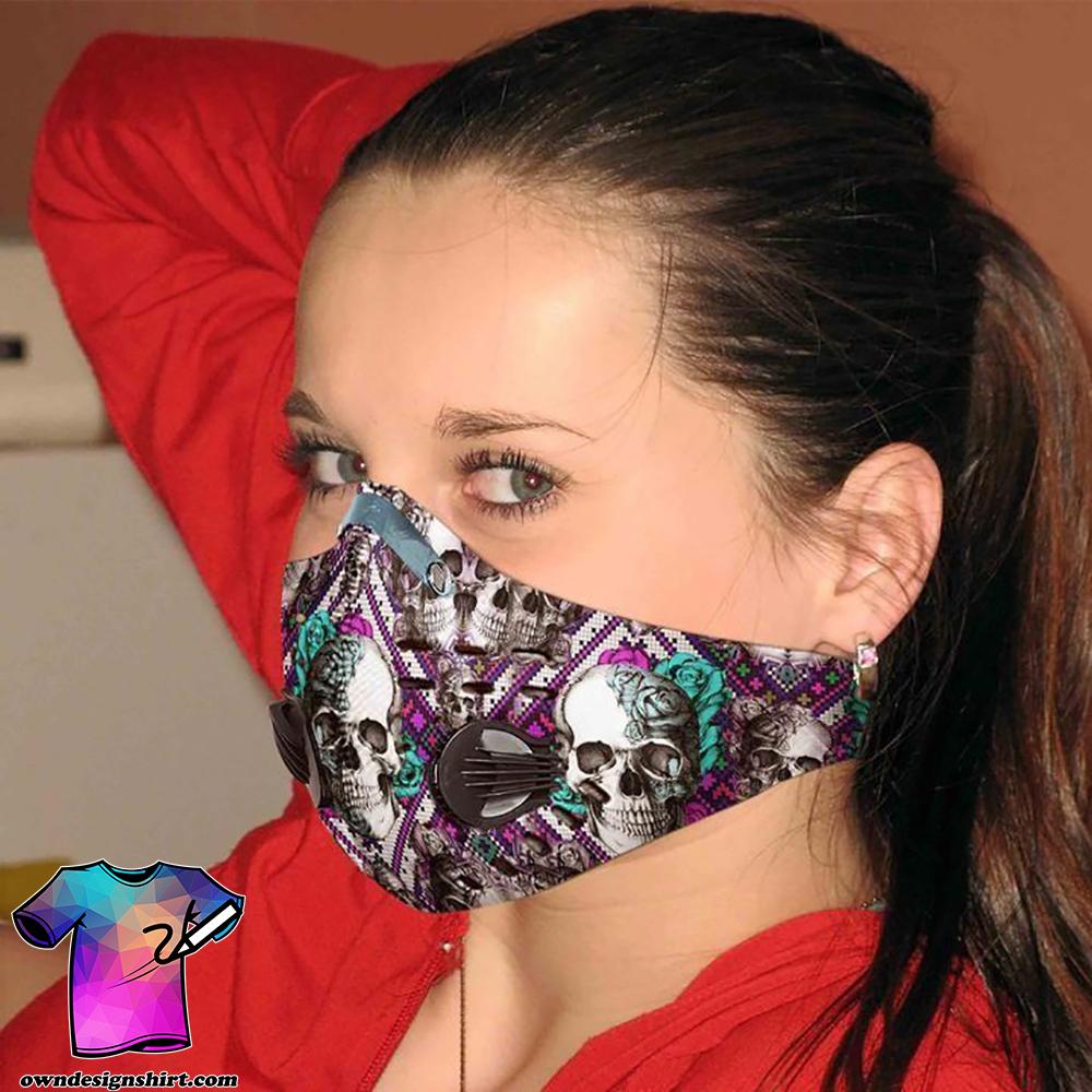 Flower skull carbon pm 2,5 face mask