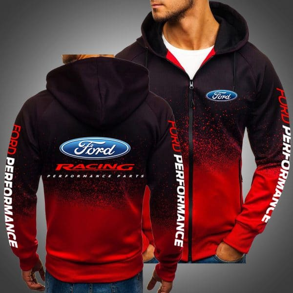 Ford racing performance all over printed zip hoodie 1