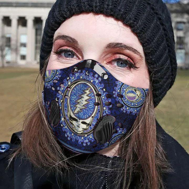 Grateful dead rock band filter activated carbon face mask 2