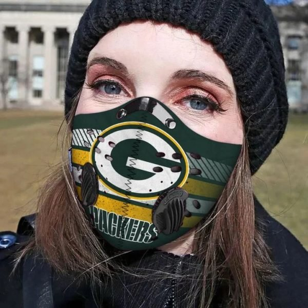 Green bay packers football carbon pm 2,5 face mask 4