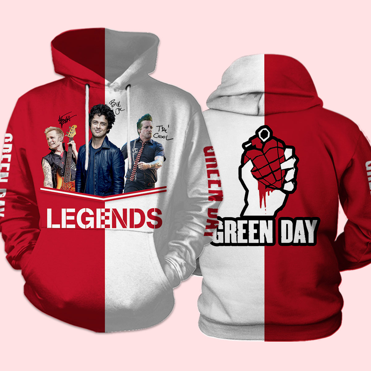 Green day legends signatures full over printed hoodie