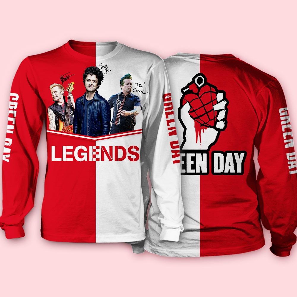 Green day legends signatures full over printed sweatshirt