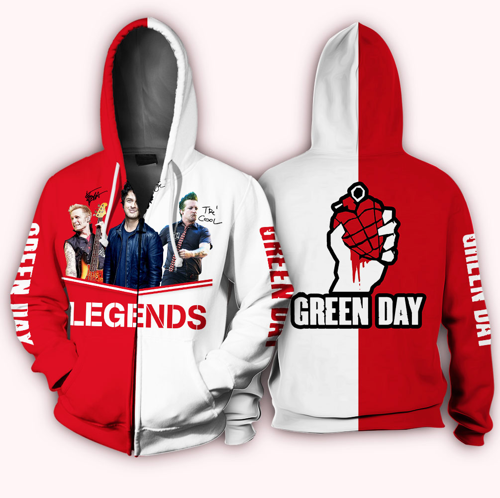 Green day legends signatures full over printed zip hoodie