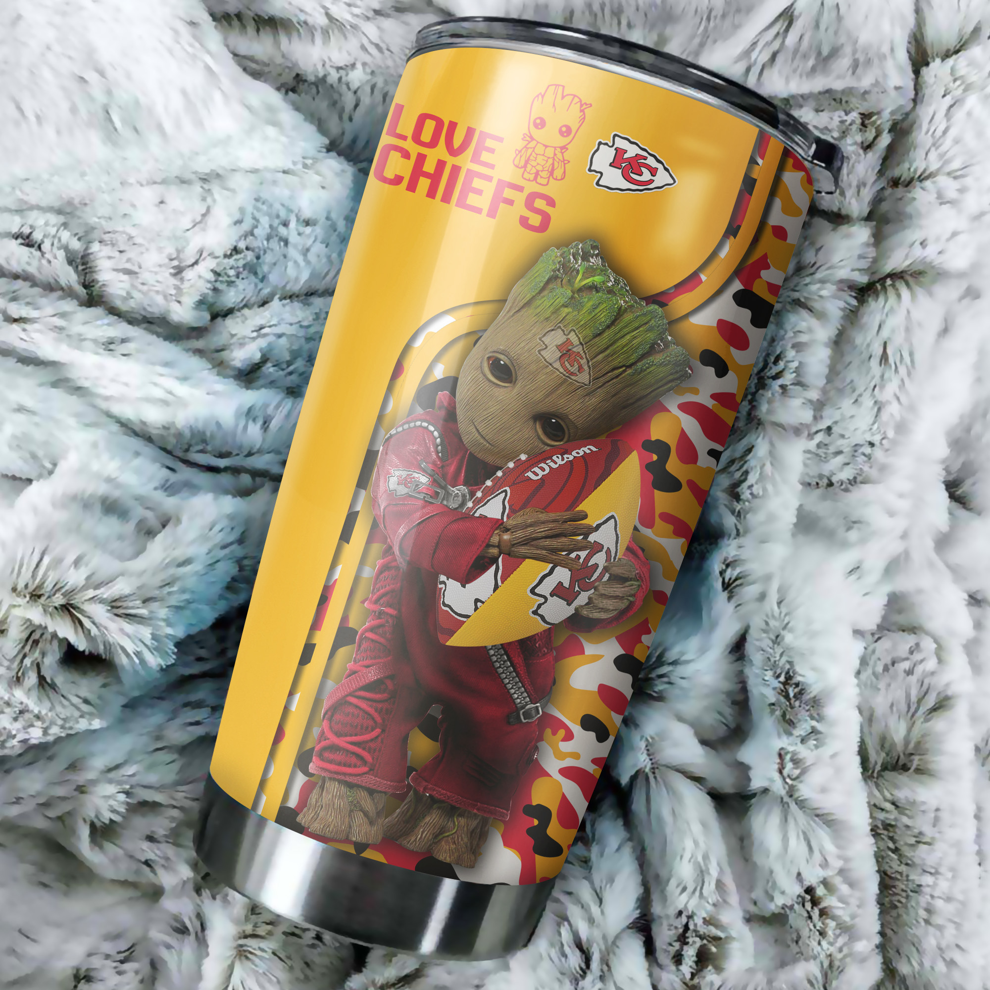 Groot hold kansas city chiefs all over printed tumbler 3
