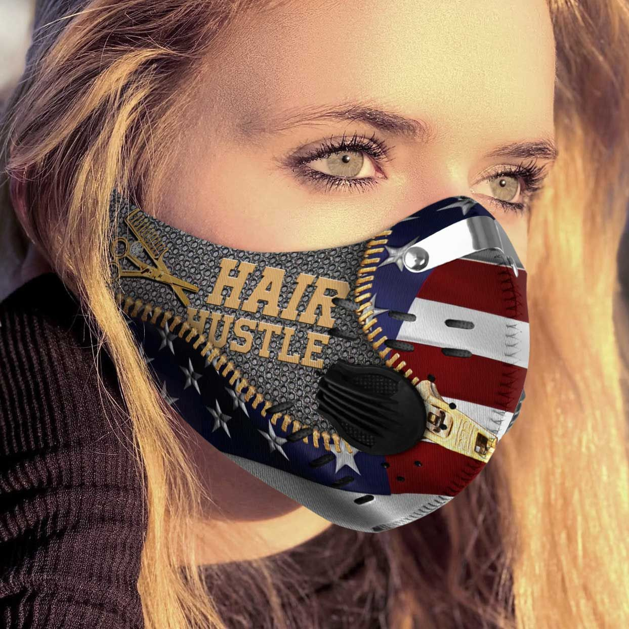 Hairstylist hair hustle american flag carbon pm 2,5 face mask 1