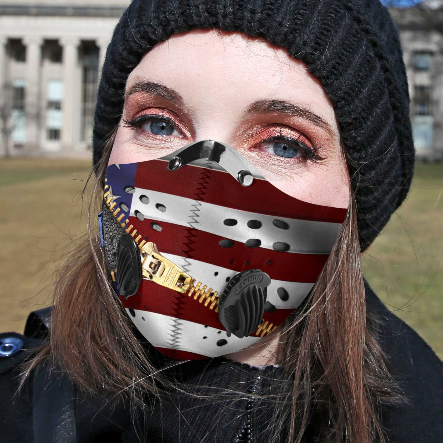 Hairstylist hair hustle american flag carbon pm 2,5 face mask 4