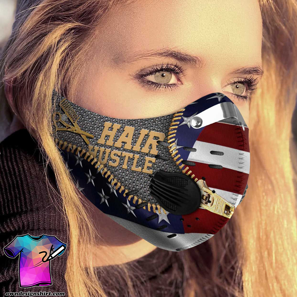 Hairstylist hair hustle american flag carbon pm 2,5 face mask