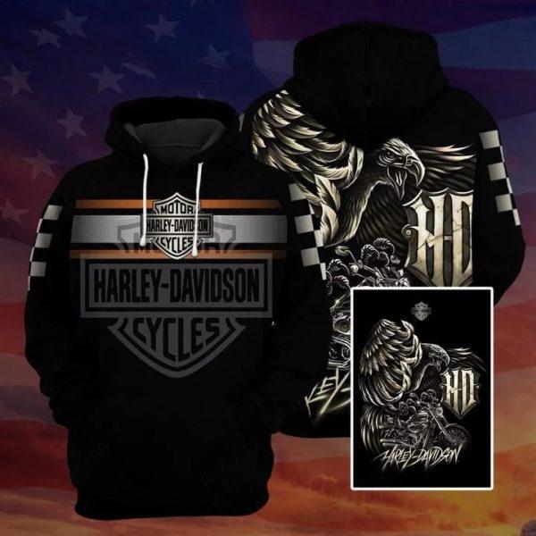 Harley davidson logo eagle full over printed hoodie