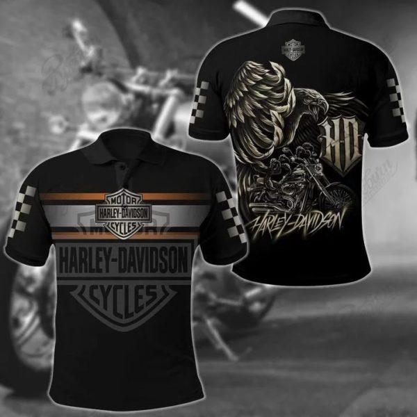 Harley davidson logo eagle full over printed polo