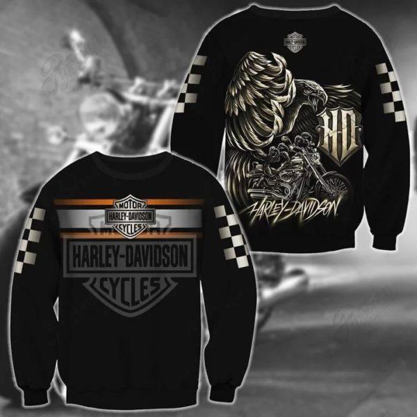 Harley davidson logo eagle full over printed sweatshirt
