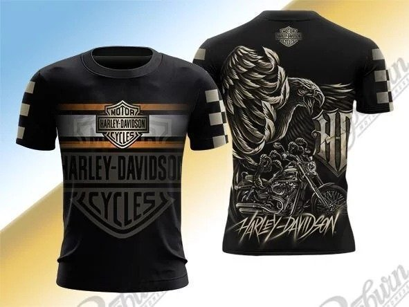 Harley davidson logo eagle full over printed tshirt