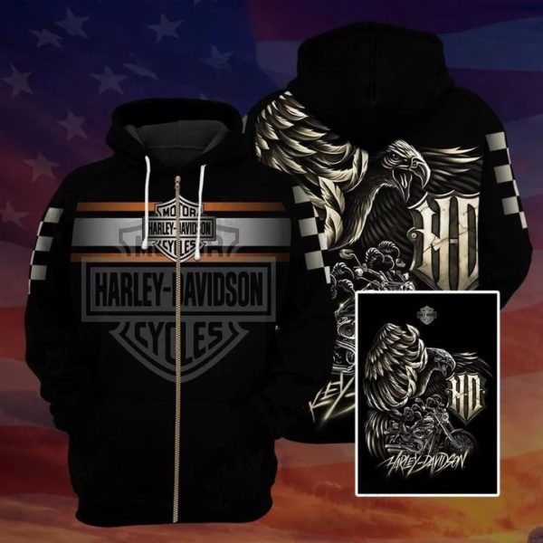 Harley davidson logo eagle full over printed zip hoodie
