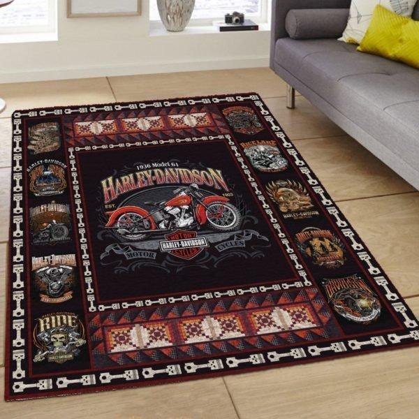 Harley-davidson motorcycle all over printed rug 3